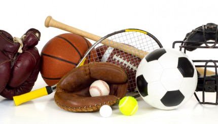 Sports Equipment on White